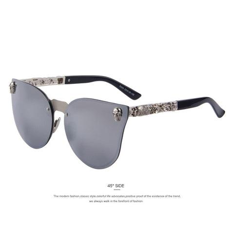 Merrys Fashion Women Gothic Eyewear Skull Frame Metal Temple Oculos De Sol Uv400 - C05 Silver - Sunglasses