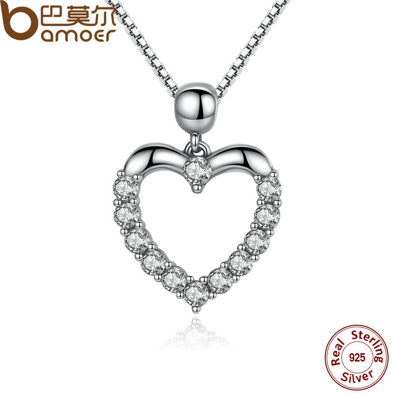 Bamoer New Authentic 925 Sterling Silver Female Heart Pendant Necklace High Quality Fashion Necklace Accessories Scn025 - Heart