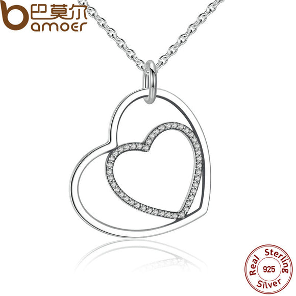 BAMOER Classic 925 Sterling Silver Heart To Heart Pendant Necklace, Clear CZ Pendant Necklace for Women Fine Jewelry PSN003