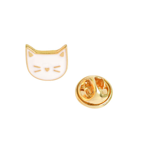 Image of Cartoon Enamel Pins - White Cat - Gadgets