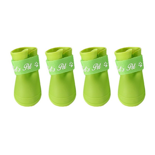 Free Shipping L Code Fashion Cute Rain Boots Rain Boots Slip Pet Dog Shoes (Black) - Green / L - Pet Products