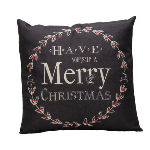 Image of High Quality Luxury Brand Vintage Christmas Pillow - Black - Throw Pillow