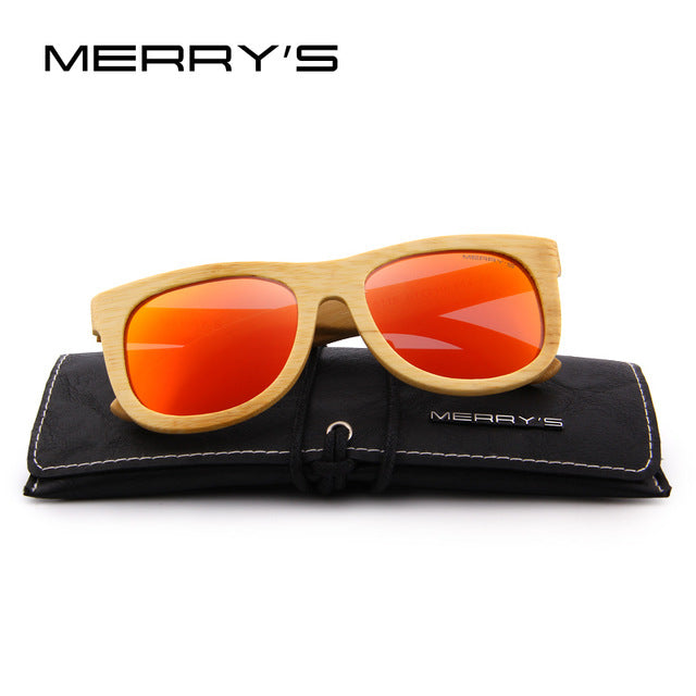 Merrys Design Bamboo Sunglasses - C04 Red - Bamboo Products