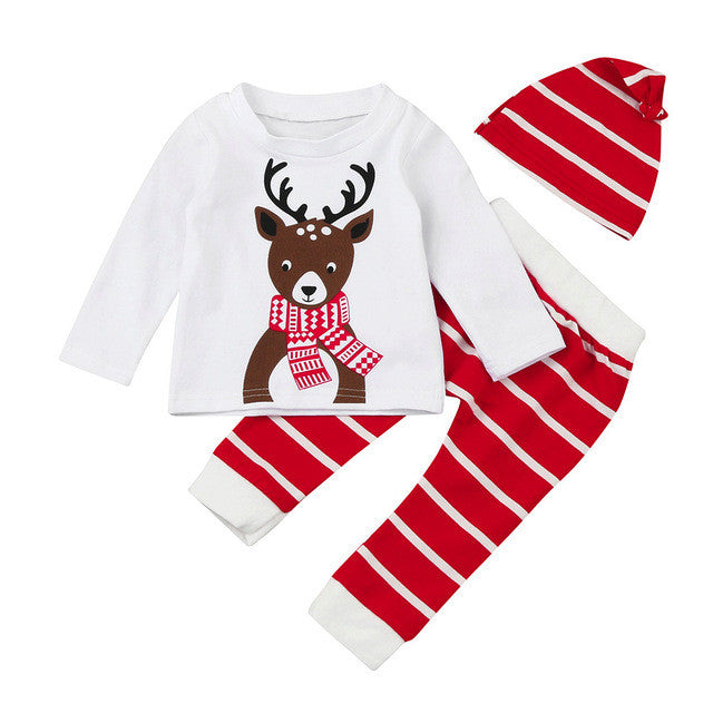 2017 Baby Clothes Set Casual Long Sleeve T-Shirt+Pant+Cap 3-Piece Set Baby Christmas Clothes Autumn Xmas Deer Print Clothes - White / 6M /
