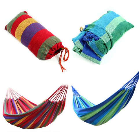 Image of Portable Hammock Outdoor Garden Hammock Hanging Bed For Home Travel Camping Hiking Swing Canvas Stripe Hammock Red - Gadgets