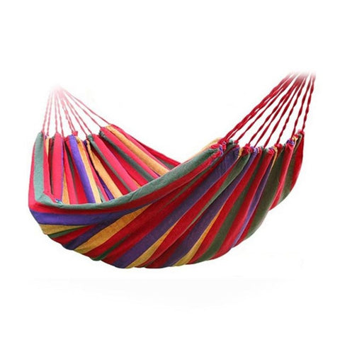 Image of Portable Hammock Outdoor Garden Hammock Hanging Bed For Home Travel Camping Hiking Swing Canvas Stripe Hammock Red - As Picture - Gadgets