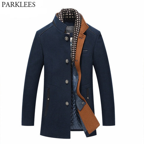 Thicker Mens Trench Coats - Navy / M - Fashionmen