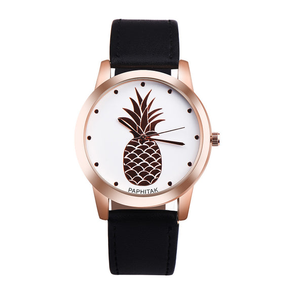 PAPHITAK Womens Men Pineapple Faux Leather Analog Quartz Watch