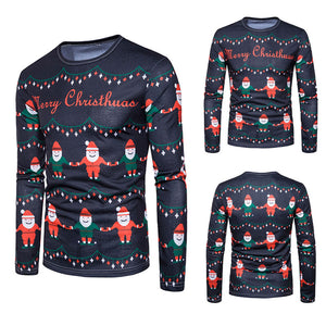 Men Autumn Winter Xmas Christmas Printingtop Mens Long-Sleeved T-Shirt Blouse - Multicolor / L - Christmas