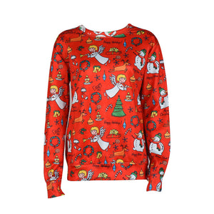 Women Long Sleeve Pullover Christmas Snowman Gift Elk Print T-Shirt Tops - Red / L - Christmas