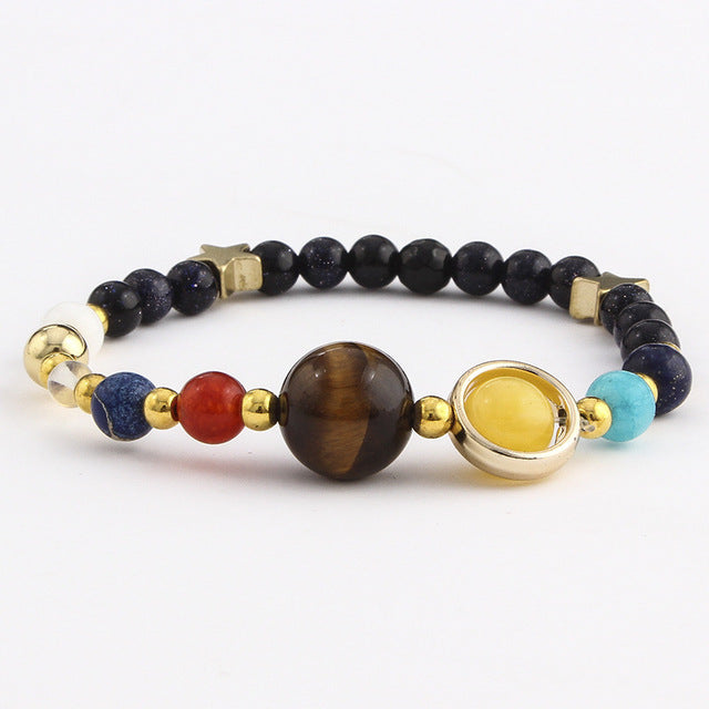 Fashion Universe Galaxy The Eight Planets Solar System Guardian Star Natural Stone Beads Bracelet Bangle For Women Men Gift - 1 - Jewelry