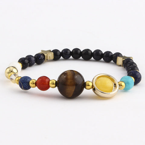 Image of Fashion Universe Galaxy The Eight Planets Solar System Guardian Star Natural Stone Beads Bracelet Bangle For Women Men Gift - 1 - Jewelry