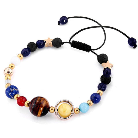 Image of Fashion Universe Galaxy the Eight Planets Solar System Guardian Star Natural Stone Beads Bracelet Bangle for Women Men Gift