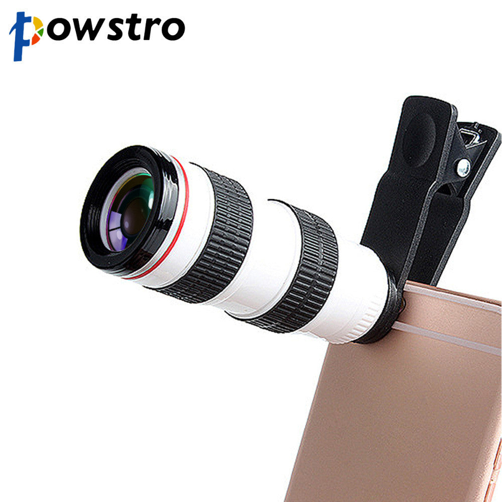 Powstro Adjustable 8X Zoom Telescope Phone Camera Lens With 20Mm Objective Diameter 50 Field View At 1000M For Cellphones - Gadgets