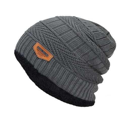 Fashion Knitted Black Hats - Gray - Fashionmen