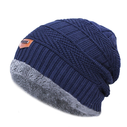 Fashion Knitted Black Hats - Navy - Fashionmen