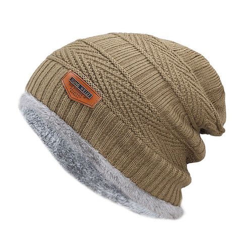 Fashion Knitted Black Hats - Khaki - Fashionmen