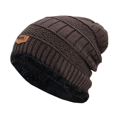 Image of Fashion Knitted Black Hats - Coffee - Fashionmen