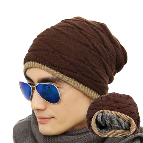 Mens Soft Lined Thick Knit Skull Cap - Wollen Coffee - Fashionmen
