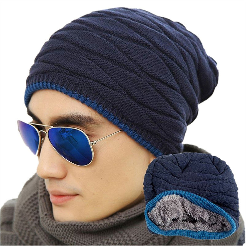 Mens Soft Lined Thick Knit Skull Cap - Wollen Navy Blue - Fashionmen