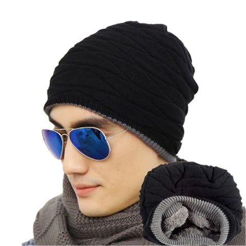 Mens Soft Lined Thick Knit Skull Cap - Wollen Black - Fashionmen