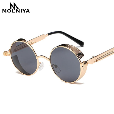 Metal Round Steampunk Sunglasses Men Women Fashion Glasses Brand Designer Retro Frame Vintage Sunglasses High Quality Uv400 - Sunglasses