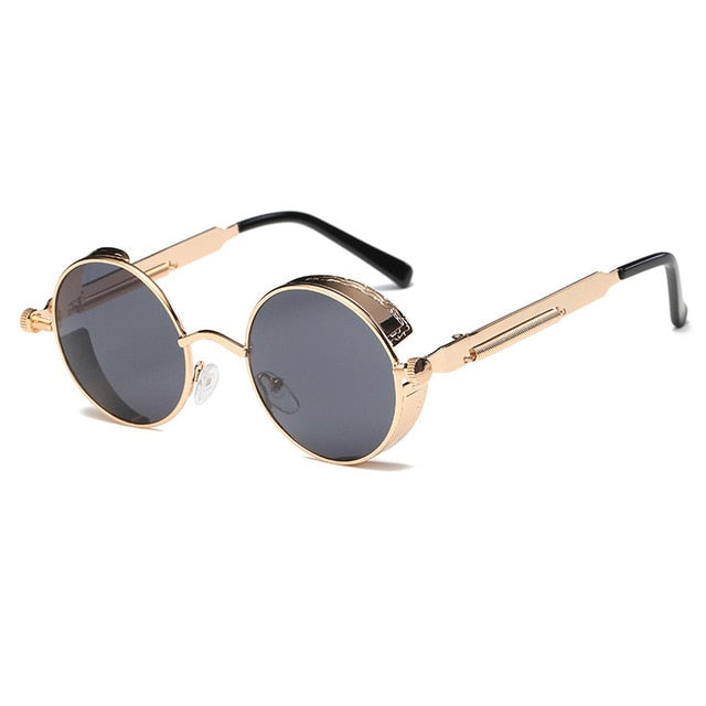 Metal Round Steampunk Sunglasses Men Women Fashion Glasses Brand Designer Retro Frame Vintage Sunglasses High Quality Uv400 - 2 - Sunglasses