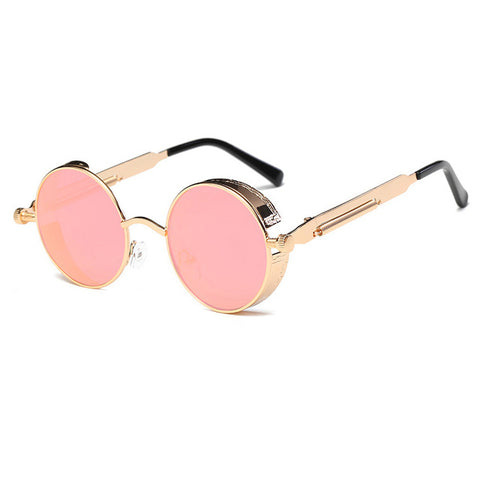 Metal Round Steampunk Sunglasses Men Women Fashion Glasses Brand Designer Retro Frame Vintage Sunglasses High Quality Uv400 - 6 - Sunglasses