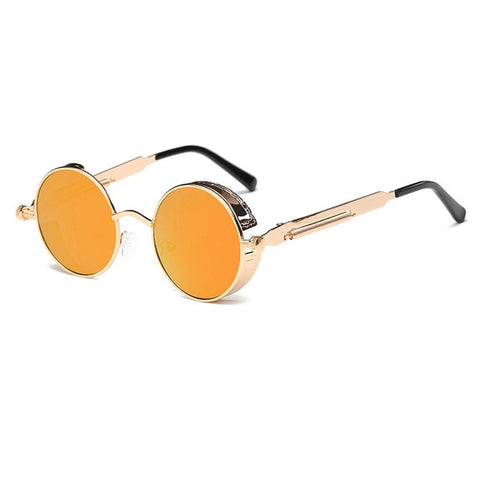 Metal Round Steampunk Sunglasses Men Women Fashion Glasses Brand Designer Retro Frame Vintage Sunglasses High Quality Uv400 - 7 - Sunglasses