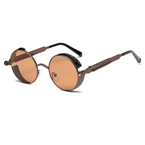 Metal Round Steampunk Sunglasses Men Women Fashion Glasses Brand Designer Retro Frame Vintage Sunglasses High Quality Uv400 - 9 - Sunglasses