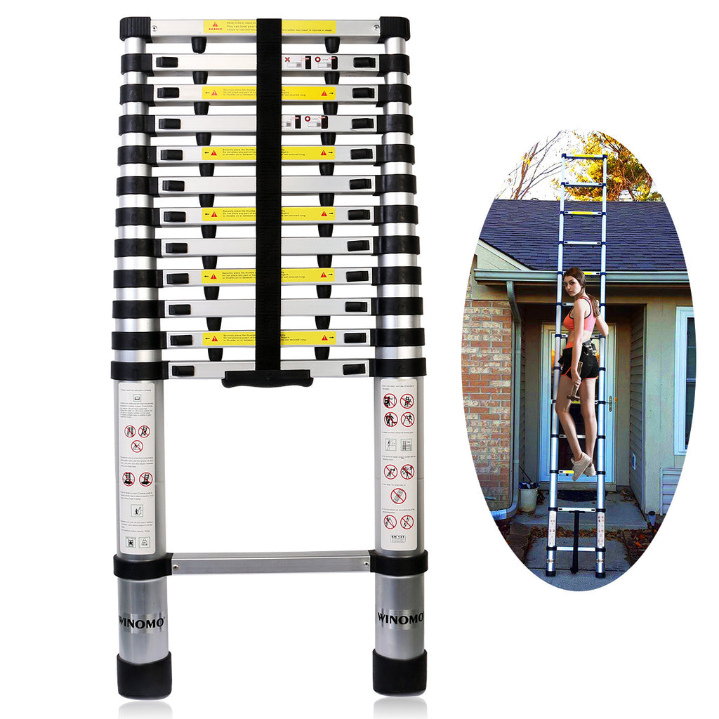 Winomo En131 12.5Ft Aluminum Telescoping Ladder Telescopic Extension With Spring Loaded Locking Mechanism - Gadgets