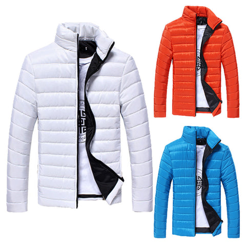 Image of Boys Men Warm Stand Collar Slim Winter Zip Coat Outwear Jacket