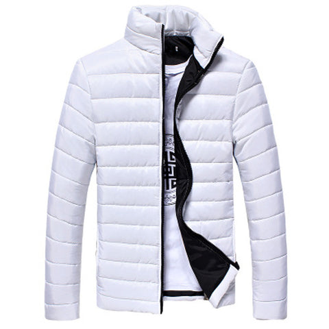 Image of Boys Men Warm Stand Collar Slim Winter Zip Coat Outwear Jacket - White / M - Gadgets