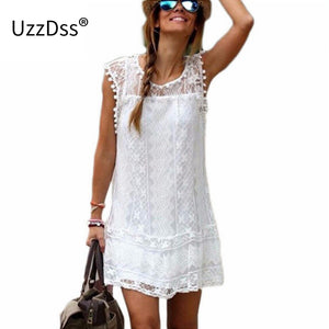 Uzzdss Summer Dress 2018 Women Casual Beach Short Dress Tassel Black White Mini Lace Dress Sexy Party Dresses Vestidos S-Xxl - Fashionwomen