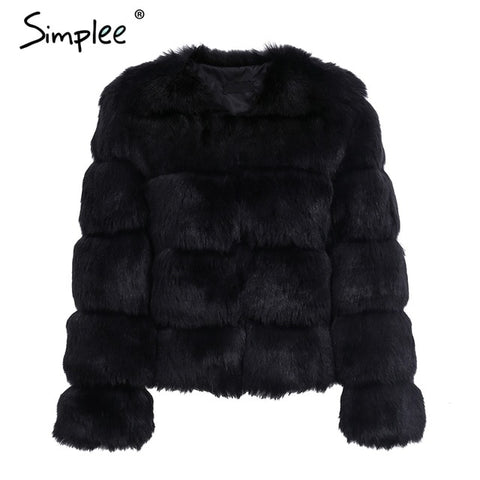 Image of Simplee Vintage Fluffy Faux Fur Coat Women Short Furry Fake Fur Winter Outerwear Pink Coat 2017 Autumn Casual Party Overcoat - Black / S -