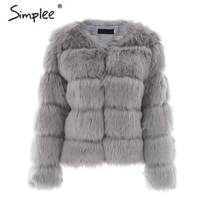 Simplee Vintage fluffy faux fur coat women Short furry fake fur winter outerwear pink coat 2017 autumn casual party overcoat