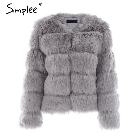 Image of Simplee Vintage Fluffy Faux Fur Coat Women Short Furry Fake Fur Winter Outerwear Pink Coat 2017 Autumn Casual Party Overcoat - Gray / S -