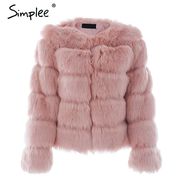Simplee Vintage Fluffy Faux Fur Coat Women Short Furry Fake Fur Winter Outerwear Pink Coat 2017 Autumn Casual Party Overcoat - Pink / S -