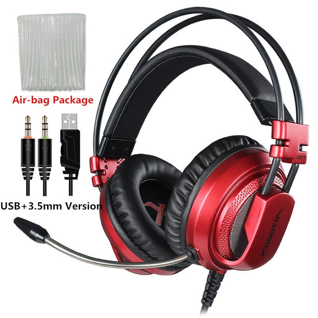 Best Computer Gaming Headset With Microphone - Red Usb With 3.5Mm / China - Gadgets