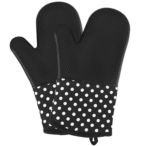 Image of Silicone Oven Mitts - Heat Resistant To 572 °F Kitchen Oven Gloves 1 Pair - Black - Gadgets