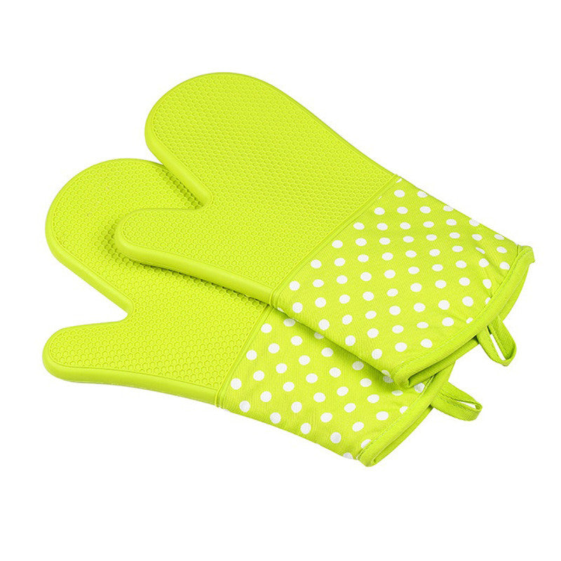 Silicone Oven Mitts - Heat Resistant To 572 °F Kitchen Oven Gloves 1 Pair - Green - Gadgets