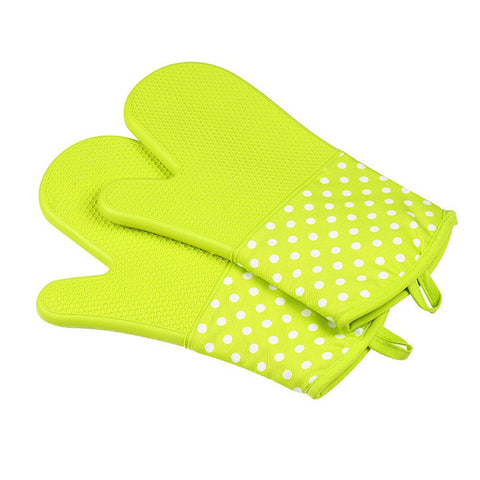 Image of Silicone Oven Mitts - Heat Resistant To 572 °F Kitchen Oven Gloves 1 Pair - Green - Gadgets