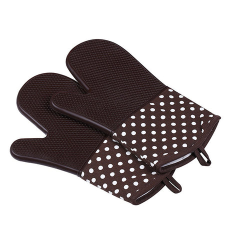 Image of Silicone Oven Mitts - Heat Resistant To 572 °F Kitchen Oven Gloves 1 Pair - Brown - Gadgets