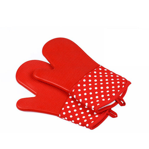 Image of Silicone Oven Mitts - Heat Resistant To 572 °F Kitchen Oven Gloves 1 Pair - Dark Red - Gadgets