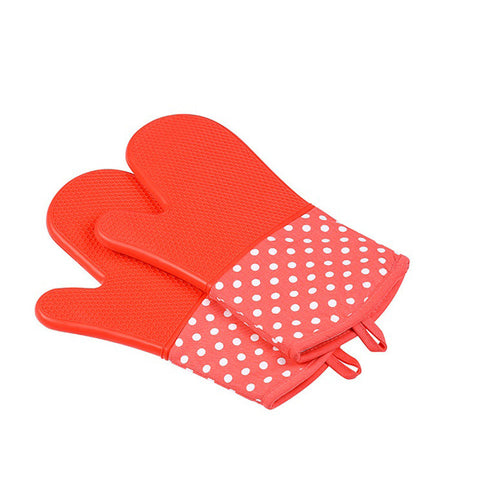 Image of Silicone Oven Mitts - Heat Resistant To 572 °F Kitchen Oven Gloves 1 Pair - Red - Gadgets