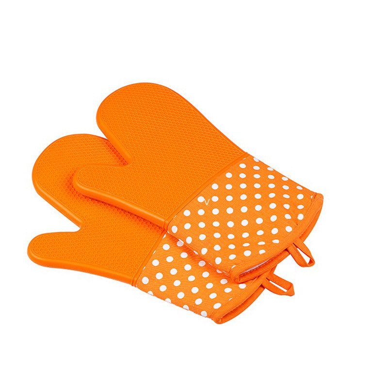 Silicone Oven Mitts - Heat Resistant To 572 °F Kitchen Oven Gloves 1 Pair - Orange - Gadgets