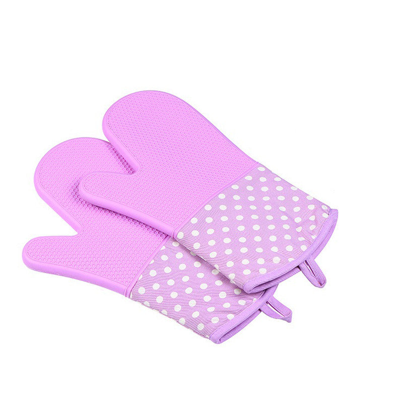 Silicone Oven Mitts - Heat Resistant To 572 °F Kitchen Oven Gloves 1 Pair - Purple - Gadgets