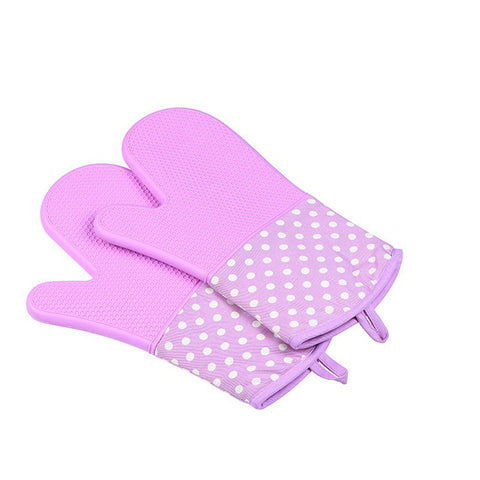 Image of Silicone Oven Mitts - Heat Resistant To 572 °F Kitchen Oven Gloves 1 Pair - Purple - Gadgets