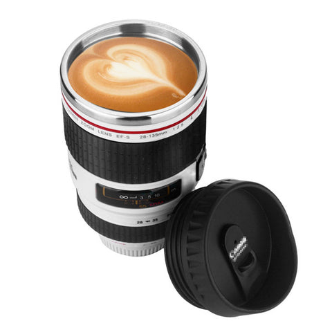 Image of Slr Camera Lens Stainless Steel Travel Coffee Mug With Leak-Proof Lid - White - Gadgets