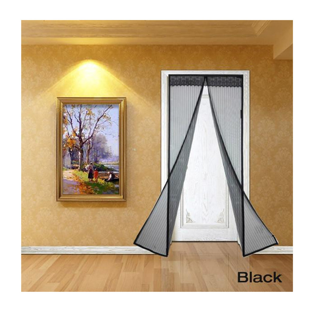 Magnetic Mesh Insect Screen Door - Black - Gadgets